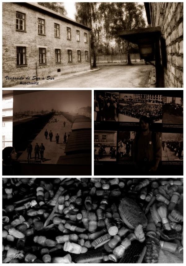 Arriba: foto entre bloques, el panorama en Auschwitz. Medio a la izquierda: Flor concentrada en la foto del tren arribando al campo. Medio a la derecha: Las fotos de la época fueron tomadas por soldados alemanes que registraban todo lo que sucedía. Cuando huyeron, olvidaron muchas camaras y registros fotograficos. Abajo: Todos llegaban con sus objetos personales porque pensaban que vivirían ahí largo tiempo.