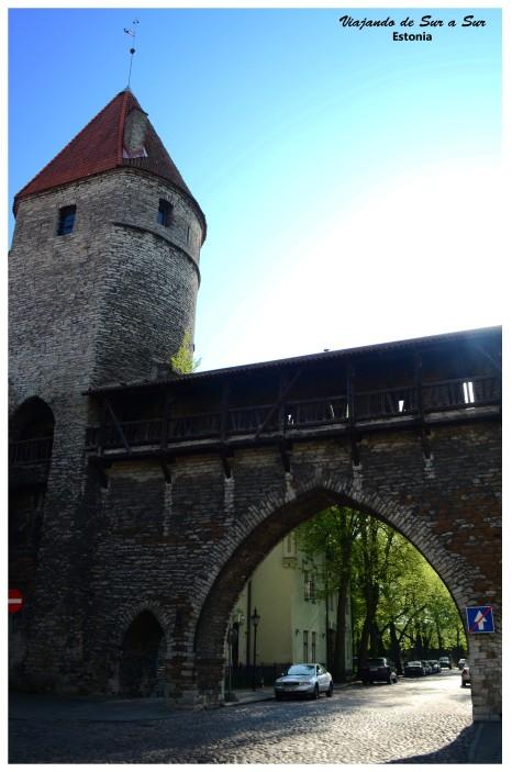 Muralla medieval en pie, con la torre de vigilancia en perfecto estado
