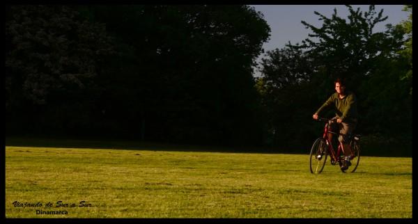 Valbyparken. Probando las bicis prestadas... no queres ser extrajenro y chocar a un danes :P