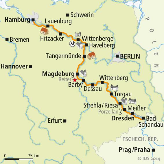 Mapa Elberadweg Manha De Alemanha