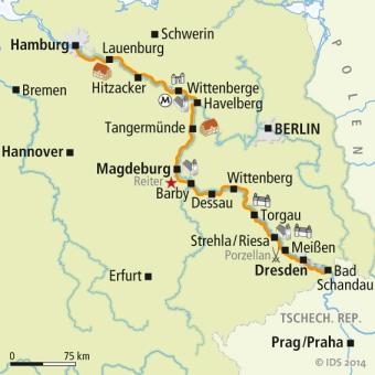 Elbe Radweg Karte mapa ciclista del rio elbe
